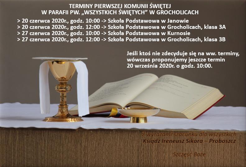 Ogłoszenie Księdza Proboszcza w sprawie Uroczystości I Komunii Św. w 2020 roku
